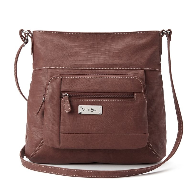 Hands-free fashion is easy with this MultiSac crossbody bag. Silver-tone hardware 12H x 13W x 2D Approx. drop down length: 29 Adjustable crossbody strap Zipper closure Exterior: 2 zip pockets Interior: zip pocket & 3 slip pockets Faux leather Size: One Size. Color: Brown. Gender: Female. Age Group: Adult.