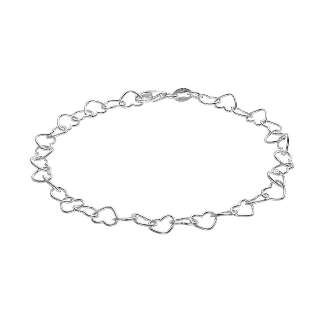 Fall in love with the elegant look of this sterling silver heart-link bracelet. Bracelet Details Length: 8 in. Clasp: lobster-claw Metal: sterling silver Size: 8. Color: Grey. Gender: Female. Age Group: Adult.