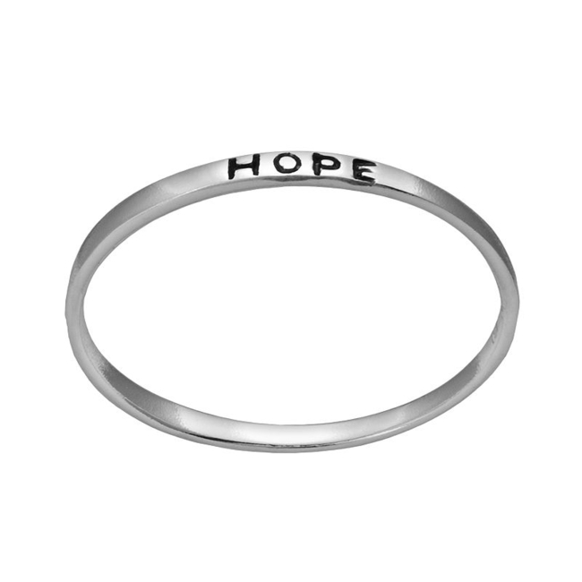 Stay inspired wearing this sterling silver Hope ring. Ring Details Width: .1 in. Metal: sterling silver Inscription: Hope Size: 7. Gender: Female. Age Group: Adult.