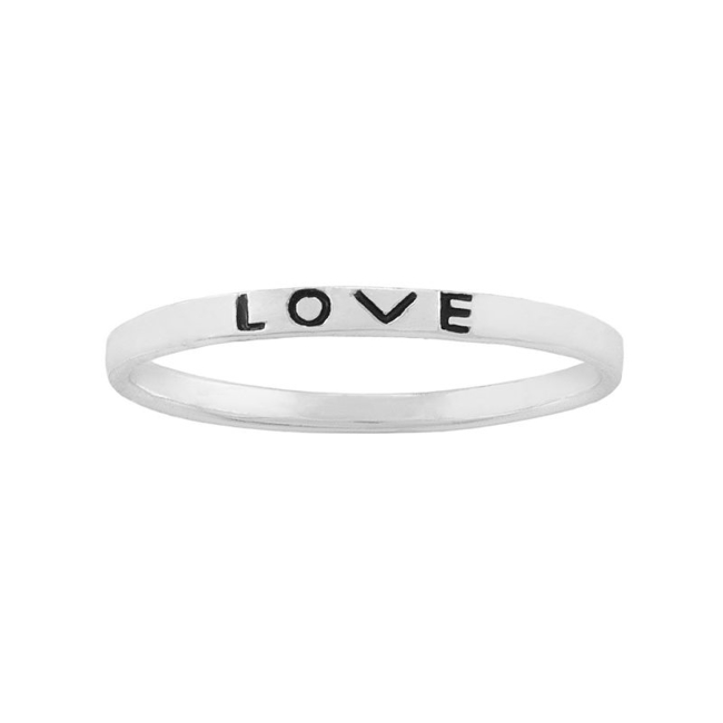 You'll adore the dainty elegance of this Itsy Bitsy Love midi ring. Ring Details Width: 1.77 mm Metal: sterling silver Inscription: Love Size: 3. Gender: Female. Age Group: Adult.