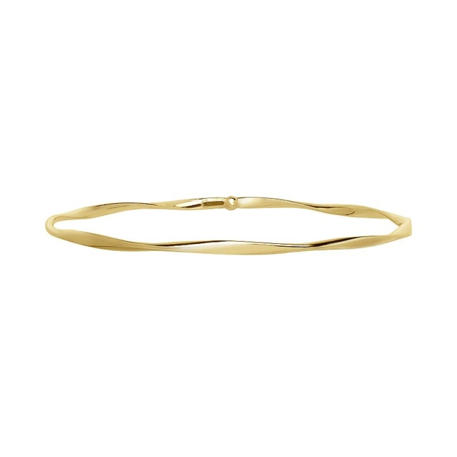 Complete any ensemble with the timeless beauty of this 14k gold twisted bangle bracelet. Bracelet Details Length: 7.5 in. Clasp: safety Metal: 14k gold Size: 7.5. Gender: Female. Age Group: Adult.
