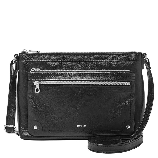 This Relic crossbody bag is the perfect size for all your daily essentials. Handbag Features Adjustable strap Silver-tone hardware Handbag Details 7.6H x 11W x 2.25D Approx. drop down length: 24 Exterior: 2 zip pockets Interior: zip pocket & 2 slip pockets Faux leather Size: One Size. Color: Black. Gender: Female. Age Group: Adult. Pattern: Solid.