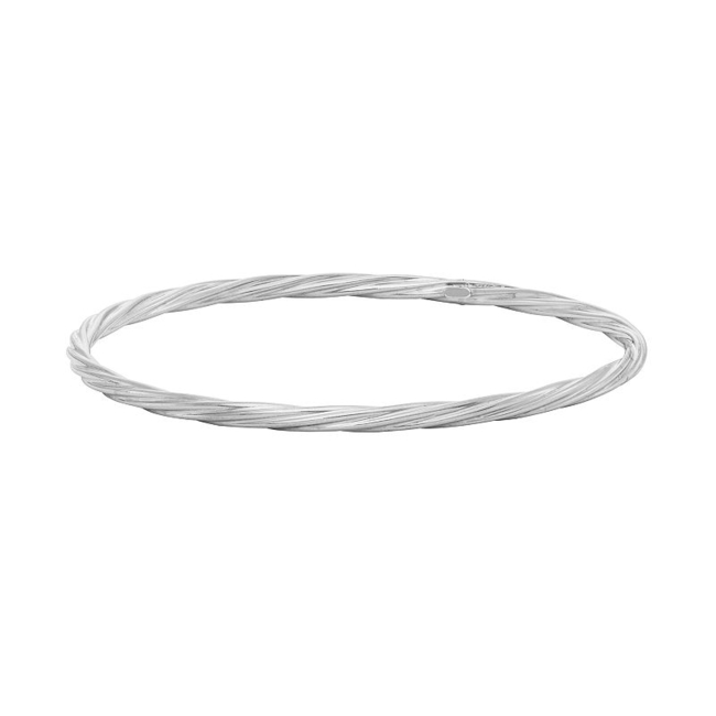 Refine your look with this sterling silver twisted bangle bracelet. Bracelet Details Length: 8 in. Metal: rhodium-plated sterling silver Size: 8. Color: Grey. Gender: Female. Age Group: Adult.