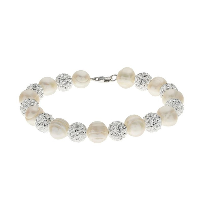 Featuring an alternating design, this freshwater cultured pearl and crystal bead bracelet offers stunning style. Comes in a gift box. Bracelet Details Length: 7.5 in. Clasp: lobster-claw Metal: rhodium-plated sterling silver Cultured Pearl Details Type: freshwater Shape: ringed Size: 8.3-9.3 mm Color: white Size: 7.5. Gender: Female. Age Group: Adult.