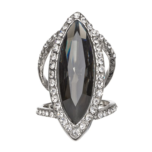 Add a glamorous touch to your favorite look with this striking Jennifer Lopez ring. Ring Details Width: 1.33 in. Size: 7 Metal: silver tone Stones: jet & white simulated crystal Not appropriate for children 14 years old and younger. Size: One Size. Color: Multicolor. Gender: Female. Age Group: Adult.