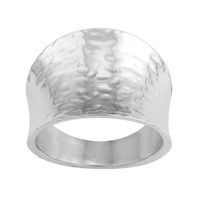 Accessorize your look with the modern style of this sterling silver hammered cigar band ring. Ring Details Width: .63 in. Metal: sterling silver Packaging: boxed Size: 7. Gender: Female. Age Group: Adult.