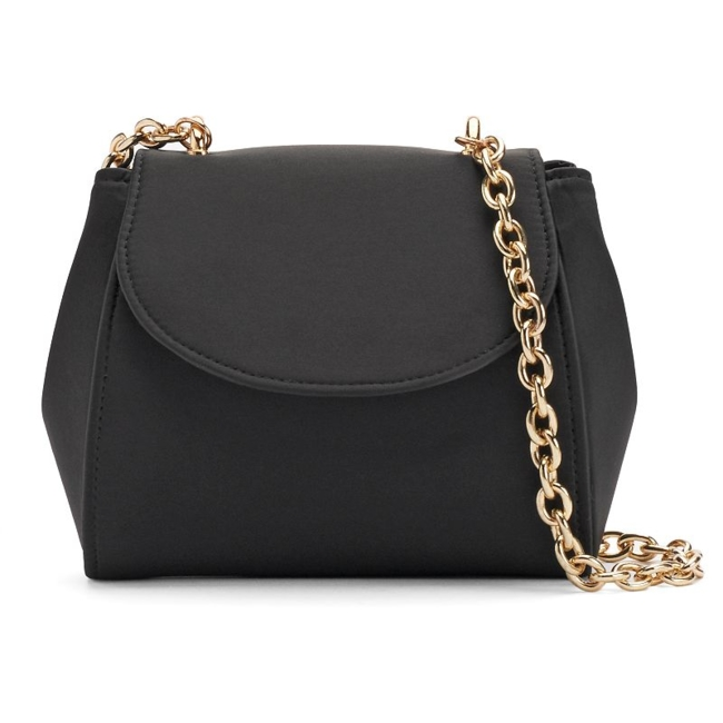 Fancy style starts with this Lenore by La Regale bag. Compact size 5H x 7W x 2.5D Drop down length: 22 Chain crossbody strap Magnetic snap closure Interior: card slot Satin Style no. RL30303 Size: One Size. Color: Black. Gender: Female. Age Group: Adult.