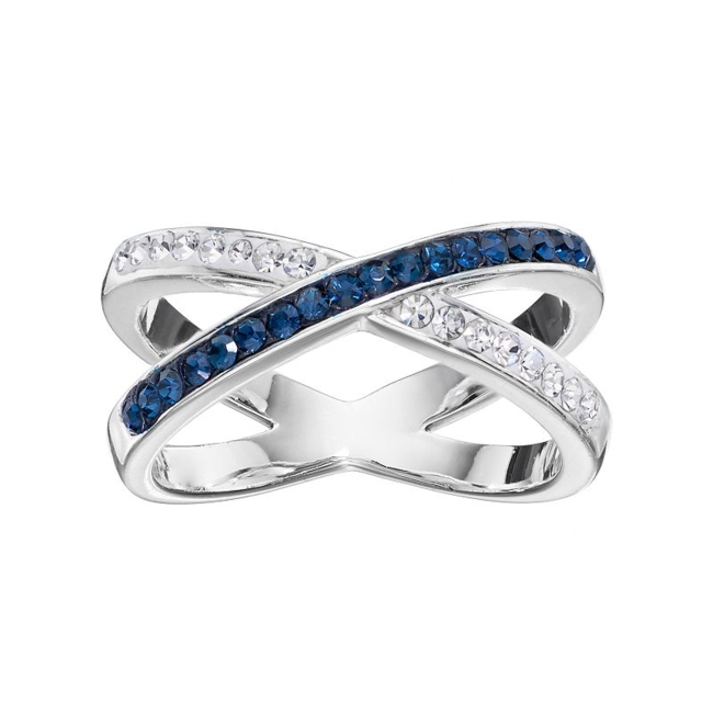 Add a sparkling touch to your ensemble with this Silver Luxuries crystal crossover ring. Ring Details Width: 9.75 mm Metal: brass Plating: silver Size: 7. Color: Grey. Gender: Female. Age Group: Adult. Material: Silver PlateBrass.