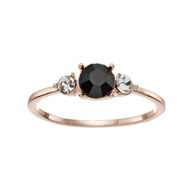 Featuring black and clear simulated crystals, you'll adore this LC Lauren Conrad triple stone ring. Ring Details Width: .19 in. Plating: rose gold tone Not appropriate for children 14 years old and younger. Size: 7. Gender: Female. Age Group: Adult.