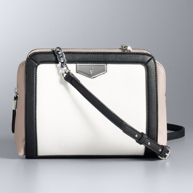 Curb chain accents bring a trendy touch to this Simply Vera Vera Wang crossbody bag. Handbag Features Silver-tone hardware Handbag Details 5.5H x 10W x 2.5D Adjustable crossbody strap: 23 approx. drop length Zipper closure Exterior: 2 slip pockets Interior: slip pocket & zip pocket Faux leather Size: One Size. Color: White. Gender: Female. Age Group: Adult.