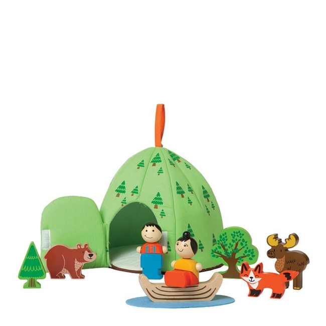 Your little one will love imaginative play with this Forest Adventure set by Manhattan Toy. Gift Givers: This item ships in its original packaging. If intended as a gift, the packaging may reveal the contents. Fosters social skills What's Included 8 wood pieces Felt pond Soft tent storage case 7H x 8W x 8D Age: 3 years & up Imported Model No. 213450 Size: One Size. Color: Multicolor. Gender: Unisex. Age Group: Kids.