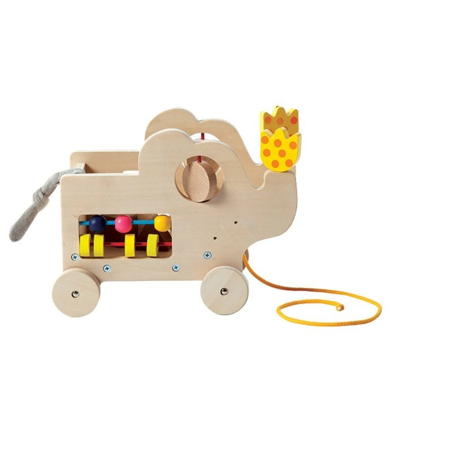 Cute and fun, your little one will love playing with this My Pal Elly Wooden pull along activity toy by Manhattan Toy. Gift Givers: This item ships in its original packaging. If intended as a gift, the packaging may reveal the contents. Built-in shape sorter, spinning dials & bead run Rubber trimmed wheels Encourages fine motor skills & sensory learning Non-toxic water based finish 8H x 10.3W x 6.3D Age: 12 months & up Imported Model No. 213875 Size: One Size. Color: Multicolor. Gender: Unisex. Age Group: Kids.