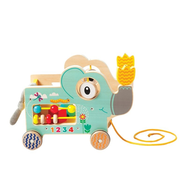 Cute and fun, your little one will love playing with this My Pal Elly colorful wooden pull along activity toy by Manhattan Toy. Gift Givers: This item ships in its original packaging. If intended as a gift, the packaging may reveal the contents. Built-in shape sorter, spinning dials & bead run Rubber trimmed wheels Encourages fine motor skills & sensory learning Non-toxic water based finish 8H x 10.3W x 6.3D Age: 12 months & up Imported Model No. 213870 Size: One Size. Color: Multicolor. Gender: Unisex. Age Group: Kids.