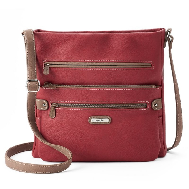Accessorize and organize with this MultiSac crossbody bag. Handbag Features Contrasting faux-leather trim Handbag Details 11.75H x 11.25W x 2.5D Adjustable crossbody strap: 29 approx. drop Top zipper closure Exterior: 4 zip pockets & 2 slip pockets Interior: 2 slip pockets & zip pocket Faux leather Size: One Size. Color: Red. Gender: Female. Age Group: Adult.