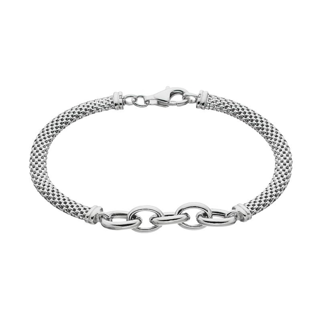 Modern style abounds with this sterling silver mesh bracelet. Bracelet Details Length: 7.5 in. Clasp: lobster-claw Metal: sterling silver Plating: rhodium Packaging: boxed Size: 7. Gender: Female. Age Group: Adult.
