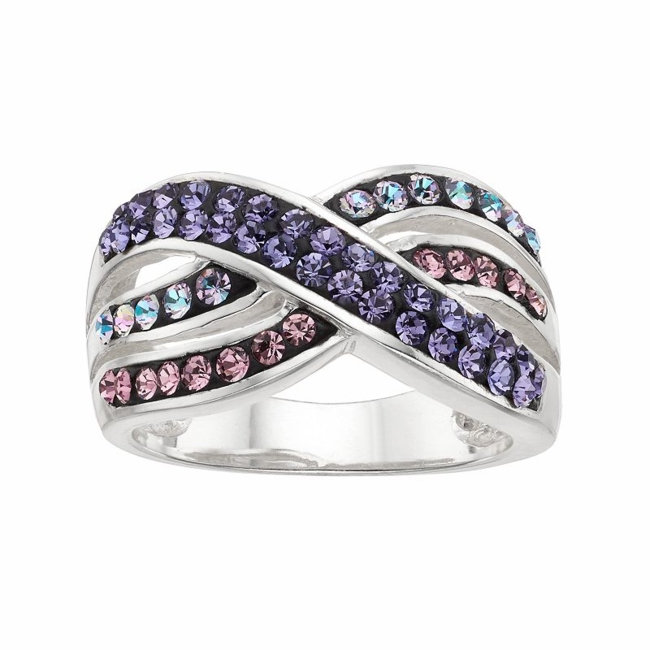 Complement your outfit with the colorful beauty of this purple and pink crystal crisscross ring. Ring Details Width: .47 in. Metal: brass Plating: silver Size: 8. Gender: Female. Age Group: Adult.
