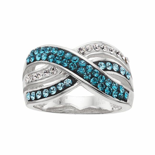 Complement your outfit with the colorful beauty of this blue and clear crystal crisscross ring. Ring Details Width: .47 in. Metal: brass Plating: silver Size: 8. Gender: Female. Age Group: Adult.