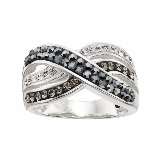 Complement your outfit with the elegant beauty of this black and clear crystal crisscross ring. Ring Details Width: .47 in. Metal: brass Plating: silver Size: 7. Gender: Female. Age Group: Adult.