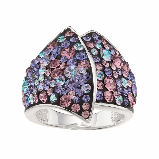 Delight in the unique appeal of this purple and pink crystal ring. Ring Details Width: .85 in. Metal: brass Plating: silver Size: 8. Gender: Female. Age Group: Adult.