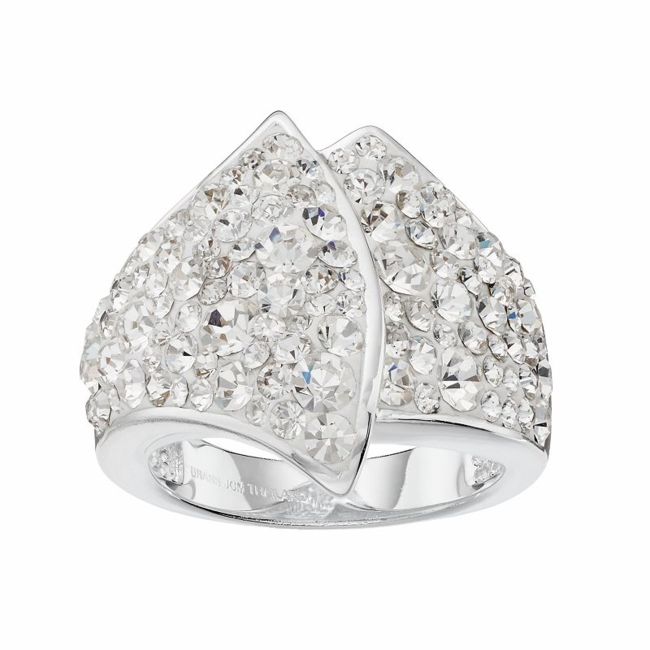 Delight in the unique appeal of this clear crystal ring. Ring Details Width: .85 in. Metal: brass Plating: silver Size: 8. Color: White. Gender: Female. Age Group: Adult.