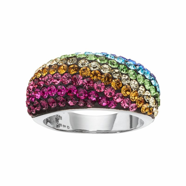 Striking style is effortless with this multicolored crystal ring. Ring Details Width: .44 in. Metal: brass Plating: silver Size: 7. Color: Multicolor. Gender: Female. Age Group: Adult.