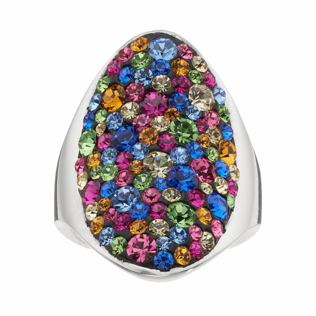 Perfect your outfit with the vibrant appeal of this multicolored crystal oval ring. Ring Details Width: 1.15 in. Metal: brass Plating: silver Size: 8. Color: Multicolor. Gender: Female. Age Group: Adult.
