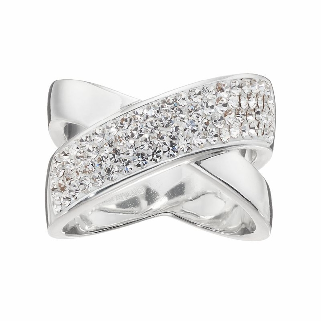 Convey your contemporary sense of style when you don this crystal crisscross ring. Ring Details Width: .53 in. Metal: brass Plating: silver Size: 7. Color: White. Gender: Female. Age Group: Adult.