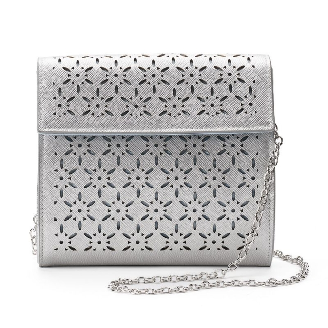 A lovely starburst design made up of intricate laser-cut details brings a trendy touch to this Lenore by La Regale crossbody. Handbag Features Perforated starburst design Drop-in chain strap Handbag Details 6.25H x 7W x 2D Shoulder strap: 23 drop Magnetic snap closure Interior: slip pocket Faux leather Size: One Size. Color: Silver. Gender: Female. Age Group: Adult.