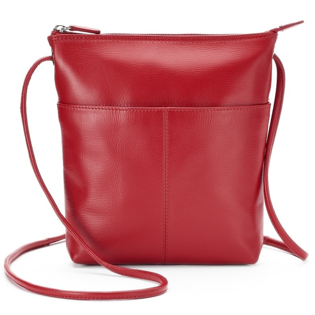 Sleek, stylish and crafted from genuine leather, this ili crossbody bag is perfect for any occasion. Handbag Features Genuine leather construction Silver-tone hardware Handbag Details 8H x 9W x 2D Adjustable crossbody strap: 28 drop Top zipper closure Exterior: slip pocket & zip pocket Interior: zip pocket Leather Size: One Size. Color: Red. Gender: Female. Age Group: Adult. Pattern: Solid. Material: Faux Leather.