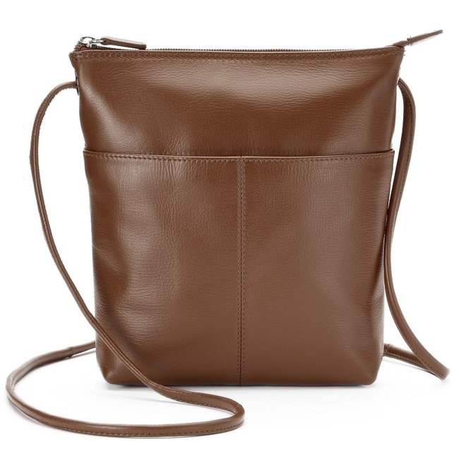 Sleek, stylish and crafted from genuine leather, this ili crossbody bag is perfect for any occasion. Handbag Features Genuine leather construction Silver-tone hardware Handbag Details 8H x 9W x 2D Adjustable crossbody strap: 28 drop Top zipper closure Exterior: slip pocket & zip pocket Interior: zip pocket Leather Size: One Size. Color: Brown. Gender: Female. Age Group: Adult. Pattern: Solid. Material: Faux Leather.