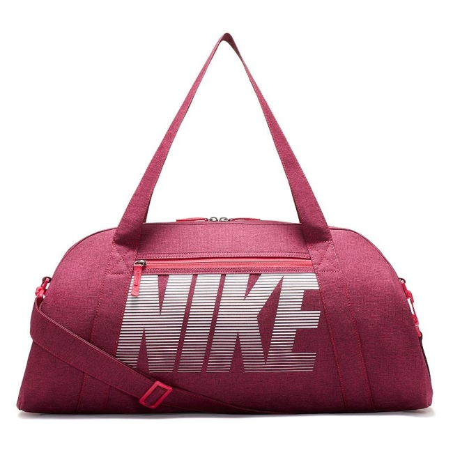 Stow workout essentials and more in sporty style with this women's Nike duffel bag. Durable water-resistant fabric creates a strong exterior Spacious dual-zip main compartment and multiple pockets keep gear organized Single easy-access pocket provides convenient storage space Dual handles and an adjustable, detachable shoulder strap for custom carrying 12H x 22W x 9D Weight: 1 lb. Polyester Zipper closure Model no. BA5490 Size: One size. Color: Pink. Gender: Unisex.