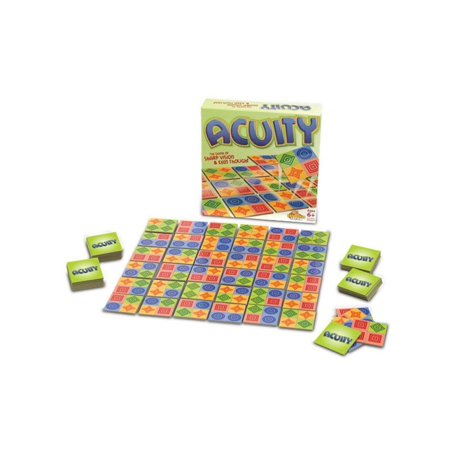 Acuity Game by Fat Brain Toy Co. is the clever matching game of quick visual perception where players race against each other or work together to discover and match hidden patterns in the tiles' arrangement. Game for the entire family No reading required, simply the ability to flip, turn & match What's Included 70 Acuity tiles Game rules 2.4H x 10.6W x 10.6D Age: 6 years & up For 1 or more players Imported Size: One Size. Color: Multicolor. Gender: Unisex. Age Group: Kids.