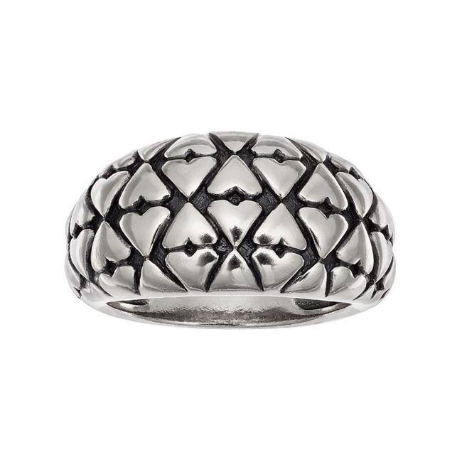 Elevate your look with the fashionable flair of this textured dome ring. Ring Details Width: .47 in. Metal: sterling silver Finish: antiqued Packaging: boxed Size: 8. Color: Grey. Gender: Female. Age Group: Adult.