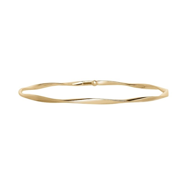 Complement your outfit with the classic charm of this 14k gold twisted bangle bracelet. Bracelet Details Length: 8 in. Metal: 14k gold Finish: polished Size: 8. Gender: Female. Age Group: Adult.