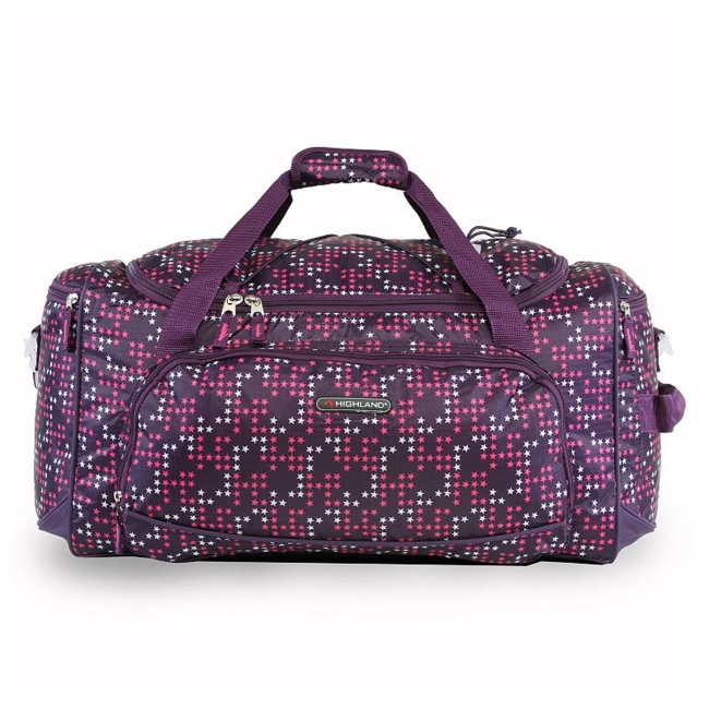 Travel to your destination in style with this Pacific Coast Highland women's travel duffel bag. Durable nylon construction for lasting use Spacious top loading main compartment with top exterior bungee cord Full zippered mesh pocket on interior flap Three extra exterior zippered compartments to maximize storage space Side handle for carrying convenience Adjustable, padded shoulder strap and side carrying handle makes travel easy 12H x 10.5W x 22D Weight: 1.6 lbs. Polyester Zipper closure Manufacturer's 2-year limited warrantyFor warranty information please click here Model no. CT-SD-621-ABT Size: One size. Color: Purple. Gender: Unisex.