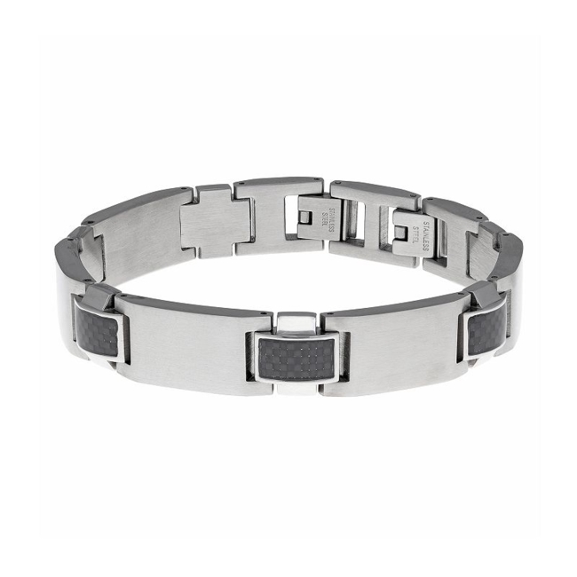 Smooth and textured elements mix to create a standout style with this men's bracelet. Bracelet Details Length: 9 in. Clasp: fold-over Metal: stainless steel Finish: satin Color: Multicolor. Gender: Male. Age Group: Adult.