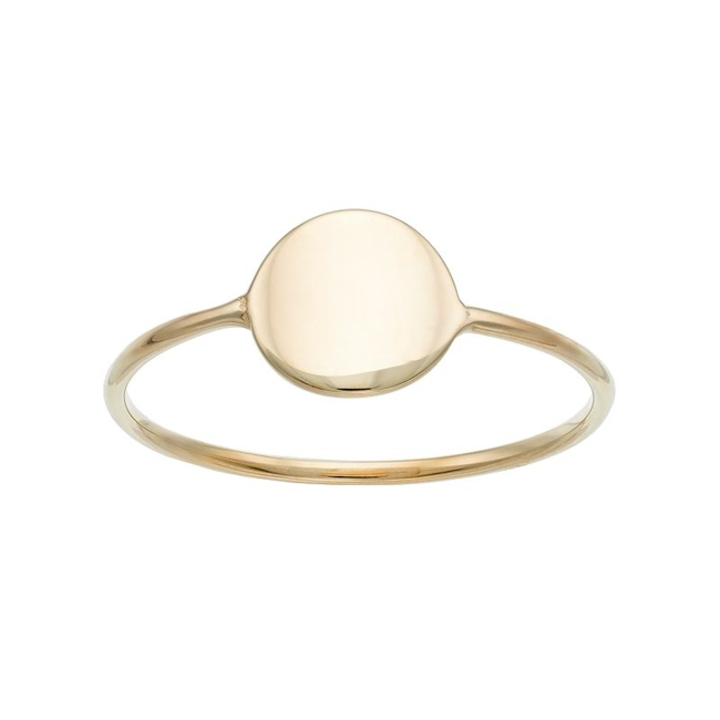 Keep your style modern with this 14k gold disc ring. Ring Details Width: 0.38 in. Metal: 14k gold Finish: polished Packaging: boxed Size: 7. Color: Yellow. Gender: Female. Age Group: Adult.