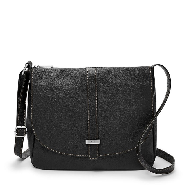 This fashionable Relic crossbody is the perfect match for your metropolitan sense of style. Logo accent on flap 12.75H x 12.5W x 2.5D Crossbody strap: 29 approx. drop Silver-tone hardware Zipper closure Interior: main compartment, 2 zip pockets & slip pocket Fabric & Care Faux leather Polyester lining Wipe clean Imported Size: One Size. Color: Black. Gender: Female. Age Group: Adult.