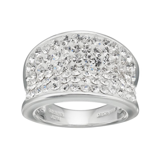 Modern style abounds with this gorgeous crystal concave ring. Ring Details Width: .6 in. Metal: brass Plating: silver Size: 8. Color: White. Gender: Female. Age Group: Adult.