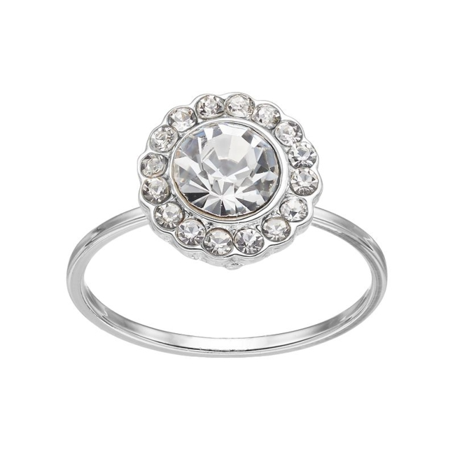 Add a dazzling touch with this eye-catching LC Lauren Conrad round halo ring. Ring Details Width: .43 in. Metal: zinc Plating: silver tone Additional details: nickel free Not appropriate for children 14 years old and younger. Size: 7.50. Gender: Female. Age Group: Adult.