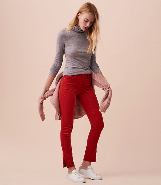 In supersoft stretch cotton corduroy, we merged all the comfort of leggings with the look of pants for our latest fave. Zip front with button closure. Five pocket styling. Outer ankle slits.