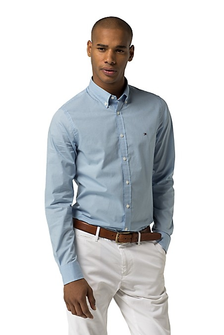Tommy Hilfiger Men's Shirt. Presenting Our Best-Selling Shirt In A Versatile New Palette. Expertly Woven From Premium Cotton Infused With Stretch. New York Fit (Larger Than Slim Fit, Slimmer Than Classic Fit). 98% Cotton, 2% Elastane. Button-Down Collar. Machine Washable. Imported.