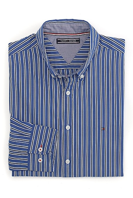 Tommy Hilfiger Men's Shirt. A Fresh Check In Soft-Washed Cotton, Tailored To Look Like It Was Made For You. New York Fit (Our Slimmest Fit). 100% Cotton. Machine Washable. Imported.