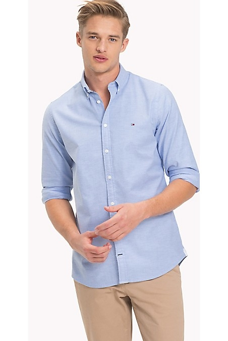 Tommy Hilfiger Men's Shirt. Made From Premium Cotton With A Touch Of Stretch For Comfort. Cut For A Flattering And Precise Fit. Slim Fit (Our Slimmest Fitting Shirt). 98% Cotton, 2% Elastane. Button-Down Collar. Machine Washable. Imported.
