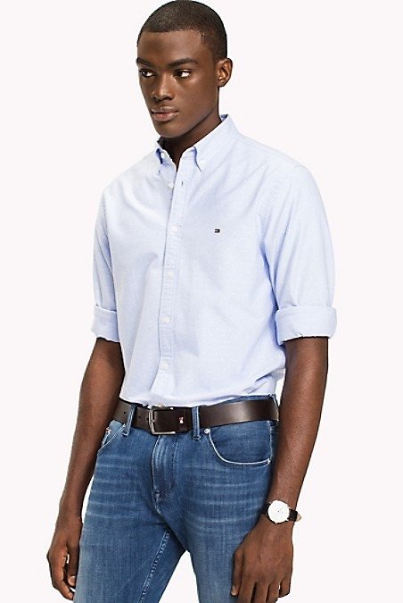 Tommy Hilfiger Men's Shirt. Our Lightweight And Breathable Cotton And Linen Shirt, Cut Perfectly For An Exacting Fit. Slim Fit (Our Slimmest Fitting Shirt). 70% Cotton, 30% Linen. Button-Down Collar. Machine Washable. Imported.