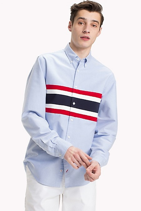 Tommy Hilfiger MenS Shirt. Woven From Our Famous Oxford Cloth, Wide Stripes Across The Chest Offer A Bonus Broadening Effect (No Workouts Necessary).