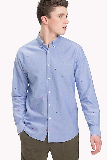 Tommy Hilfiger Men's Shirt. The Classic Oxford Woven From Soft-Washed Cotton With Our Initial Critters.