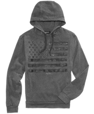 Accented by a subtle flag graphic at the front, this drawstring cotton hoodie from Ring of Fire will be a welcome addition to your casual lineup.