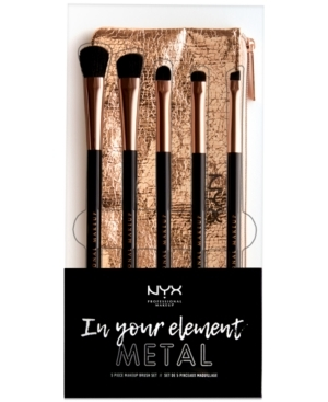 Light up your lids with the In Your Element Metal Makeup Brush Set! Featuring cruelty-free synthetic brushes and a sleek rose-gold pouch to tote them in, this premium brush set includes everything you need to create endless metallic eye looks throughout the holidays and beyond.