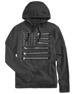 Totally cool and unique, this cotton drawstring hoodie from Ring of Fire features zippers at each flag-stripe for a rock star look.